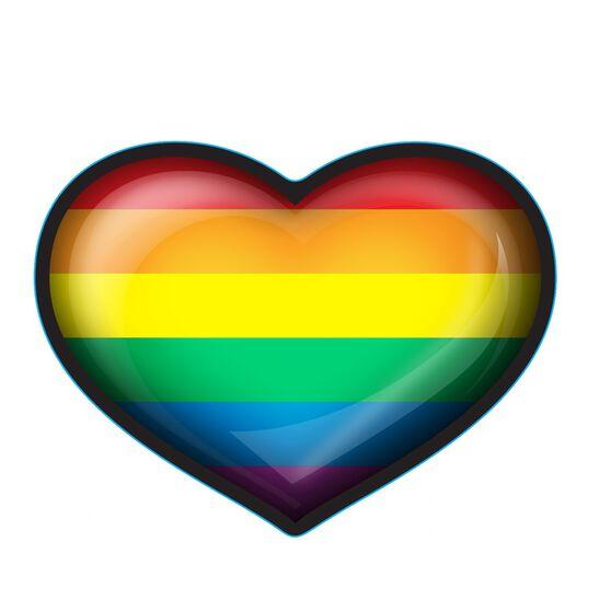 Hot Stuff Sticker - Rainbow Heart , Vinyl, , scaau_hi-res