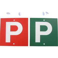 P Plate - Double Sided, White, VIC & WA, 2 Pack, , scaau_hi-res