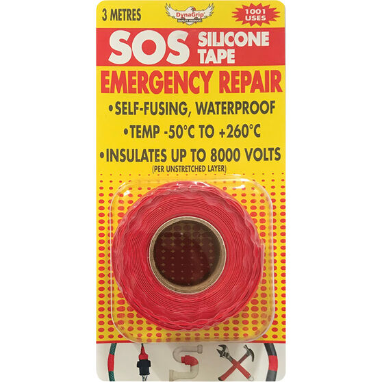 DynaGrip SOS Silicone Tape - Red, 3m x 25mm, , scaau_hi-res
