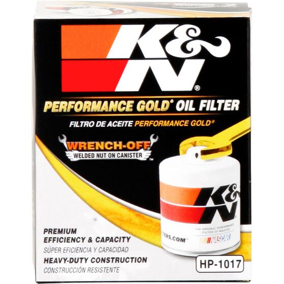 K&N Wrench Off Performance Gold Oil Filter  - HP-1017 (Interchangeable with Z663), , scaau_hi-res