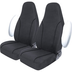 SCA Canvas Seat Covers - Charcoal/Grey Built-In Headrests Size 60 Front Pair Airbag Compatible, , scaau_hi-res