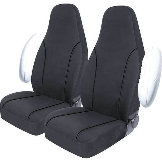 SCA Canvas Seat Covers - Charcoal/Grey, Built-In Headrests, Size 60, Front Pair, Airbag Compatible, , scaau_hi-res