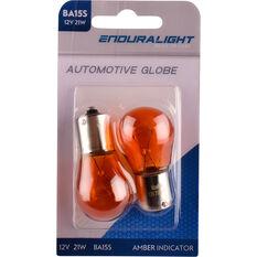 Enduralight Automotive Globe - Indicator, Amber, 12V, 21W, 2 Pack, , scaau_hi-res