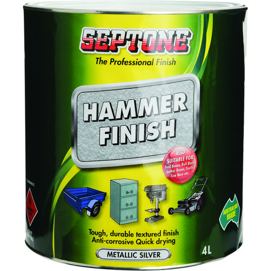 Septone Paint Hammer Finish - Metallic Silver, 4 Litre, , scaau_hi-res