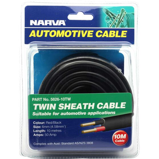 Narva Automotive Cable - Twin Sheath, 10 metres, 50 AMP, , scaau_hi-res