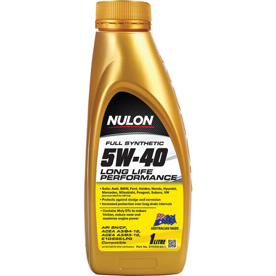 Nulon Full Synthetic Long Life Engine Oil 5W-40 1 Litre, , scaau_hi-res