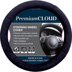 Premium Cloud Suede Steering Wheel Cover - Suede, Black, 380mm diameter, , scaau_hi-res