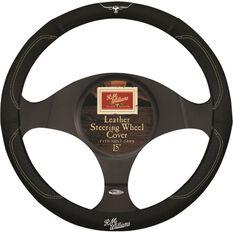 R.M.Williams Steering Wheel Cover - Leather, Black, 380mm diameter, , scaau_hi-res