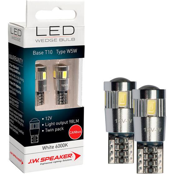 JW Speaker LED Wedge Kit - Canbus, T10, 12V, 6000K, W5W, , scaau_hi-res