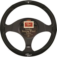 R.M.Williams Steering Wheel Cover - Leather, Black, 380mm diameter, , scaau_hi-res