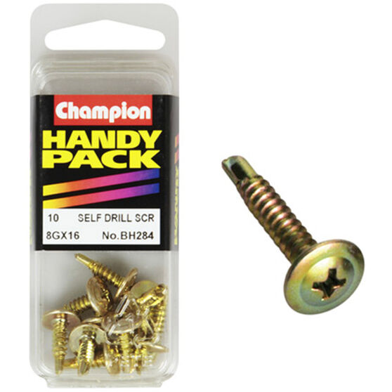 Champion Self Drilling Screws - 8G X 16, BH284, Handy Pack, , scaau_hi-res