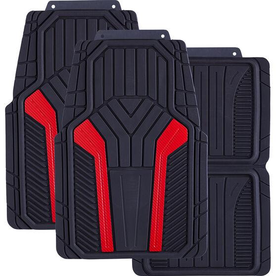 SCA Carbon Fibre Car Floor Mats - Rubber Red Set of 4, , scaau_hi-res