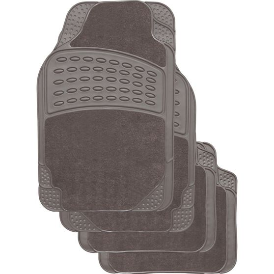 SCA Combo Car Floor Mats - Carpet / PVC, Grey, Set of 4, , scaau_hi-res