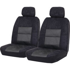 SCA Premium Jacquard and Velour Seat Covers - Black Adjustable Headrest size 30 Front Pair Airbag Compatible, , scaau_hi-res