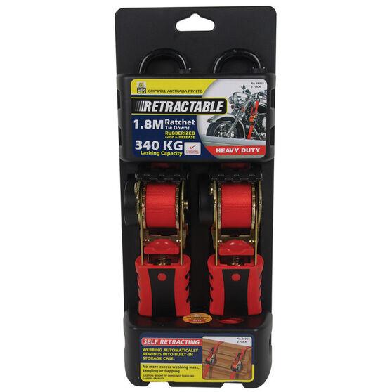 Gripwell Ratchet Tie Down - Retractable, 1.8m, 340kg, 2 Pack, , scaau_hi-res