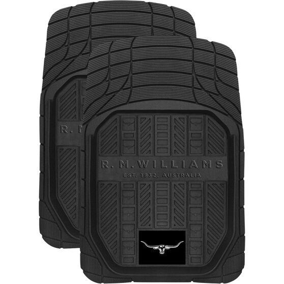 R.M.Williams Car Floor Mats Rubber Black Front Pair, , scaau_hi-res