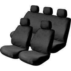 Mesh Seat Cover Pack -  Black, Adjustable Headrests, Size 30 & 06H, Front Pair & Rear, Airbag Compatible, , scaau_hi-res