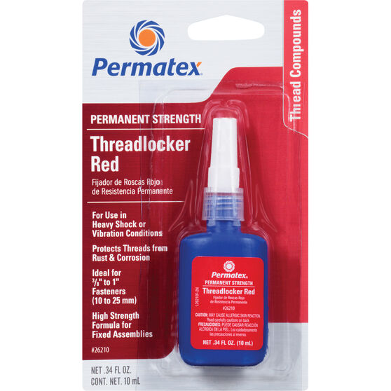 Permatex Threadlocker - Permanent Strength, Red, 10mL, , scaau_hi-res