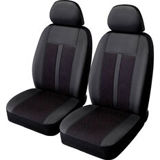 SCA Premium Jacquard & Leather Look Seat Covers - Black/Red Adjustable Headrests Size 30 Front Pair Airbag Compatible, , scaau_hi-res
