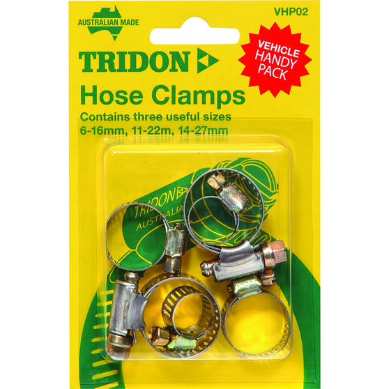 Tridon Hose Clamps - Part Stainless, 6-16mm, 11-22mm & 14-27mm, 6 Pieces, , scaau_hi-res