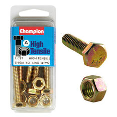Champion High Tensile Bolts and Nuts - UNC 1-1 / 2inch X 5 / 16inch, , scaau_hi-res