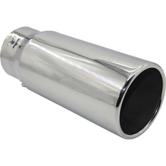 Street Series Stainless Steel Exhaust Tip - Straight Cut Rolled Tip suits 52mm to 76mm, , scaau_hi-res