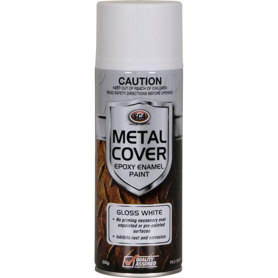 SCA Metal Cover Enamel Rust Paint Gloss White 300g, , scaau_hi-res