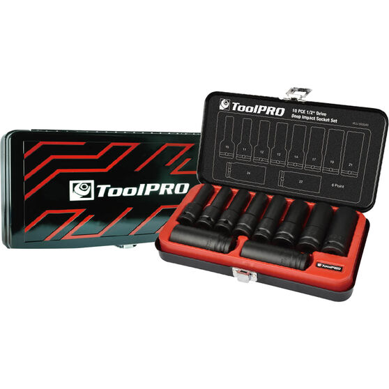 ToolPRO Impact Deep Socket Set - 1 / 2inch Drive, Metric, 10 Piece, , scaau_hi-res