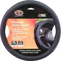 SCA Steering Wheel Cover - PU and Mesh, Black / Purple, 380mm diameter, , scaau_hi-res