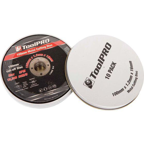 ToolPRO Metal Cut Off Disc 100mm x 1.2mm x 16mm 10 Pack, , scaau_hi-res