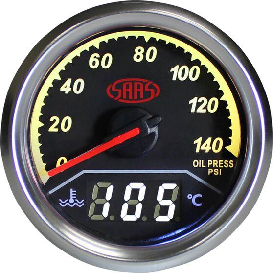 SAAS Dual Oil Pressure / Water Temperature Trax Gauge - Black, , scaau_hi-res