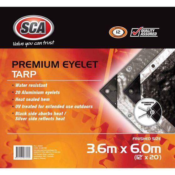 SCA Premium Poly Tarp - 3.6m X 6.0m (12 X 20), 185GSM, Silver, , scaau_hi-res