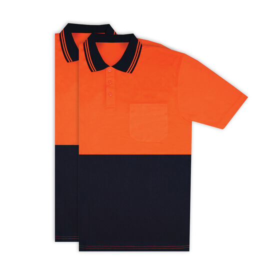 Hi Vis Short Sleeve Polo - Orange 2 Pack M, , scaau_hi-res