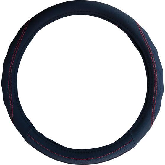 SCA Steering Wheel Cover - PU Racing, Black / Red, 380mm diameter, , scaau_hi-res