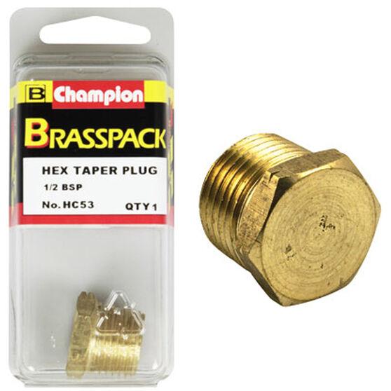Champion Hex Taper Plug - 1 / 2inch, Brass, , scaau_hi-res