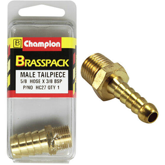 Champion Male Hose Barb - 5 / 8inch X 3 / 8inch, Brass, , scaau_hi-res