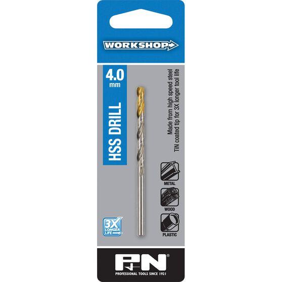 P&N Workshop Drill Bit HSS - Tin Tipped, 4.0mm, , scaau_hi-res