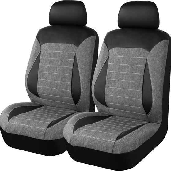 SCA PU Leather Look & Flax Seat Covers - Black/Grey, Adjustable Headrests, Size 30, Airbag Compatible, , scaau_hi-res