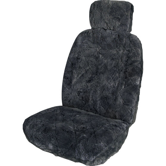 SCA Sheepskin Seat Cover Charcoal Adjustable Headrests Size 30 Single Airbag Compatible, , scaau_hi-res