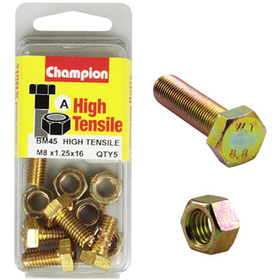 Champion High Tensile Bolts and Nuts - M8 X 16, , scaau_hi-res