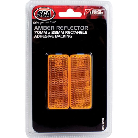 SCA Reflector - Amber, 70 x 28mm, Rectangle, 2 Pack, , scaau_hi-res