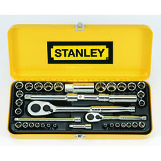 Stanley Socket Set - 1 / 4 inch and 1 / 2 inch Drive, Metric / Imperial, 37 Piece, , scaau_hi-res