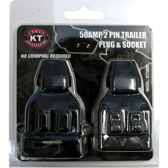 KT Cable Trailer Plug and Socket Pack, Plastic - Flat, 50 AMP,  2 Pin, , scaau_hi-res