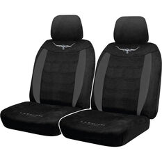 R.M.Williams Suede Velour Seat Covers - Black, Adjustable Headrests, Size 30, Front Pair, Airbag Compatible, , scaau_hi-res