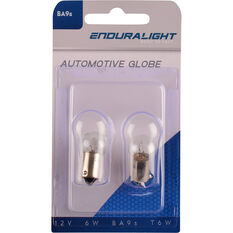 Enduralight Automotive Globe - Dash / Number Plate, 12V, 6W, 2 Pack, , scaau_hi-res