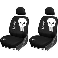 Punisher Seat Covers - Black, Adjustable Headrests, Size 30, Front Pair, Airbag Compatible, , scaau_hi-res