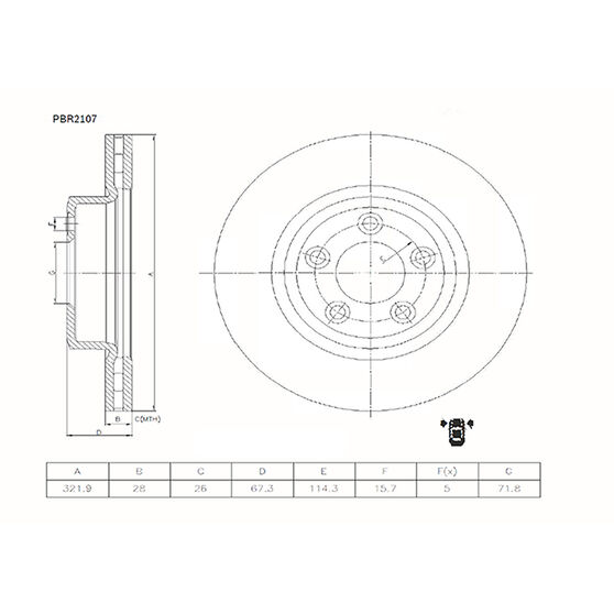 Bosch Disc Brake Rotor - PBR2107, , scaau_hi-res