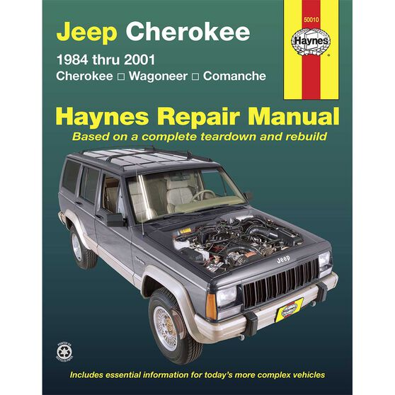 Haynes Repair Manual - Jeep Cherokee, Comanche, Wagoneer Limited, 2/4WD, Gasoline Engines (1984 - 01) Does Not Include Grand Wagoneer/Diesel, 50010, , scaau_hi-res
