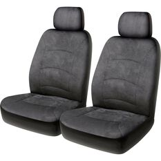 Cloud Premium Suede Seat Covers - Grey, Adjustable Headrests, Airbag Compatible, , scaau_hi-res