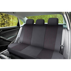 SCA Premium Jacquard & Leather Look Seat Covers - Black/Red Adjustable Zips Rear Seat Size 06H, , scaau_hi-res